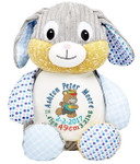 Personalised Hug-Me Cubby - Harlequin Blue Rabbit (Birth Design)
