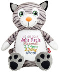 Personalised Hug-Me Cubby - Cat (Birth Design)