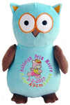 Personalised Hug-Me Cubby - Aqua/Brown Owl (Birth Design)