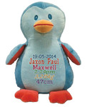 Personalised Hug-Me Cubby - Blue Penguin (Birth Design)