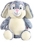 personalised Grey Rabbit Cubby with birth details