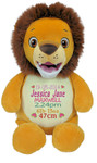 Personalised Hug-Me Cubby - Signature Lion (Birth Design)