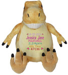 Personalised Embroider Buddy - Orange Dinosaur (Birth Design)