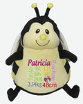 Personalised Embroider Buddy - Bumble Bee (Birth Design)