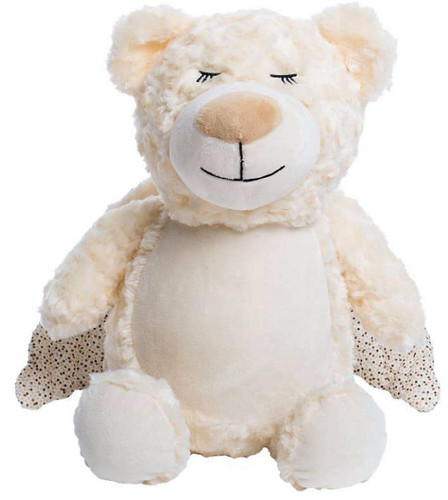 Personalised Hug-Me Cubby - Angel Bear (Birth Design)