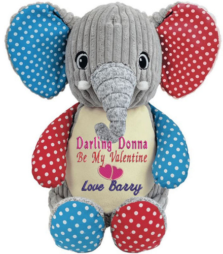 Personalised Message Bear - Harlequin Elephant Hug-Me Cubby
