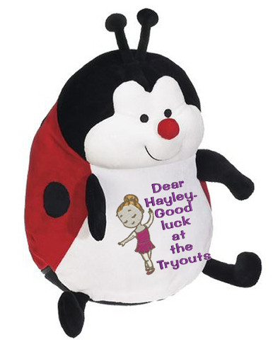 Personalised Message Bear - Ladybug Red Embroider Buddy