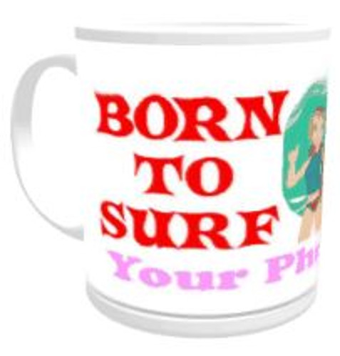 11oz Personalised Mug - Born to Surf / Forced to Work (Female)