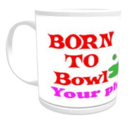 11oz Personalised Mug - Born to Lawn Bowl / Forced to Work (Female)