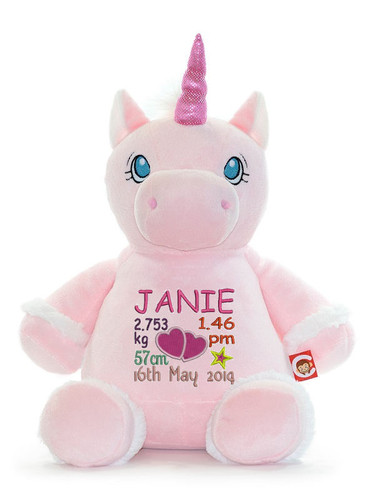 cute embroidered Cubby Pink Unicorn birth design