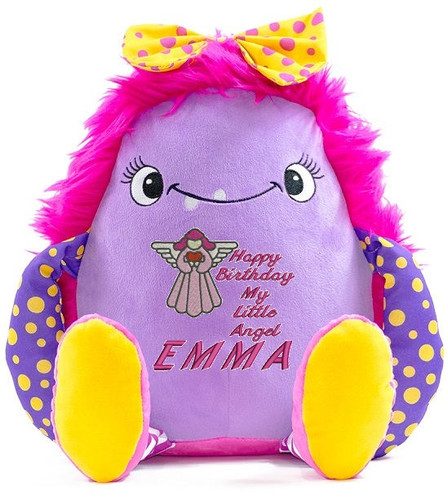 Personalised Message Bear - Pink Monster Cubby