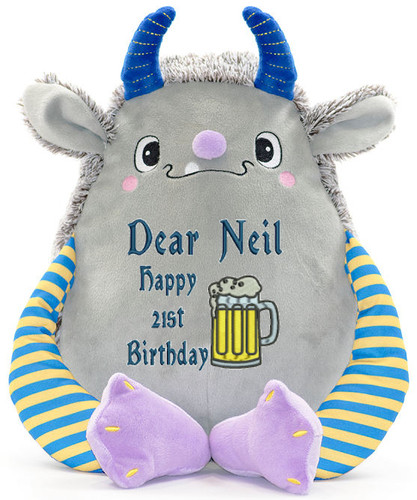 Personalised Message Bear - Grey Monster Cubby