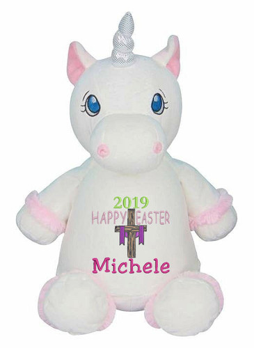 Personalised Easter Bear - White Unicorn Hug-Me Cubby