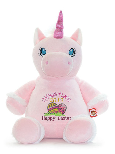 Personalised Easter Bear - Pink Unicorn Hug-Me Cubby