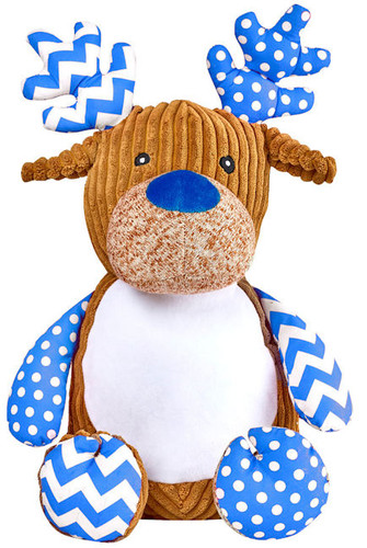 Harlequin Blue Reindeer cubby with a Christmas design