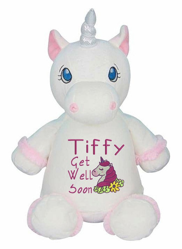 Personalised Message Bear - White Unicorn Hug-Me Cubby