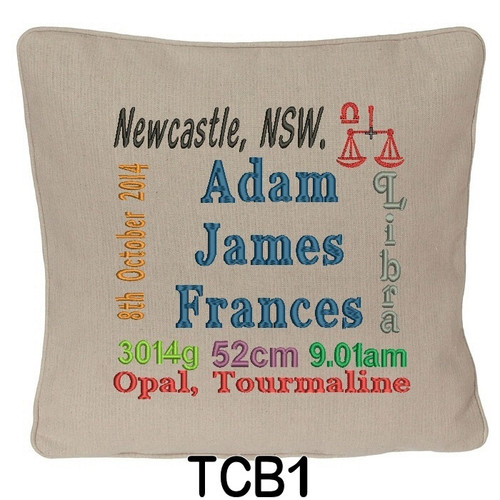 Oatmeal cushion cover personalised with baby's birth details and horoscope details and birthstone
