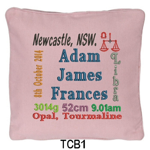 Pink cushion cover personalised with baby's birth details and horoscope details and birthstone