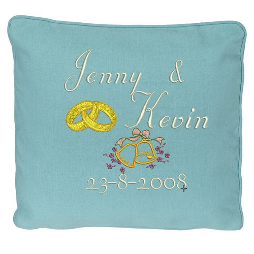 Blue wedding ring pillow with names and date
