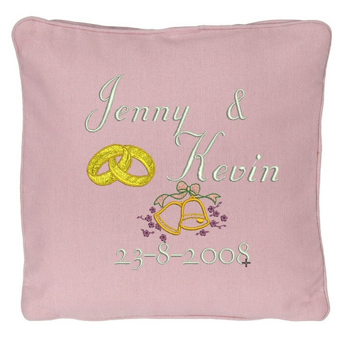 Pink wedding ring pillow with names and date
