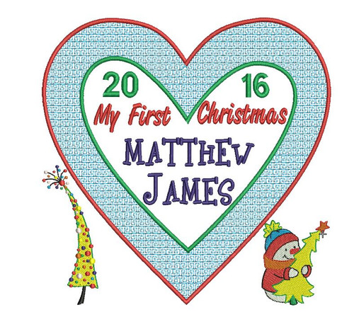 Beautiful Heart shaped Christmas Cushion design with tree and snowman motifs