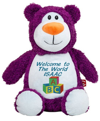 Personalised Message Bear - Purple Bear Hug-Me Cubby