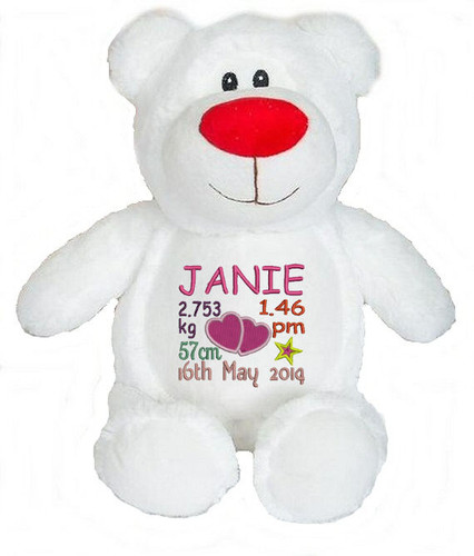Personalised Hug-Me Cubby - Bear White (Birth Design)