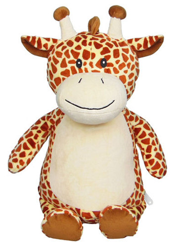 personalised Short Neck Giraffe Cubby with birth details