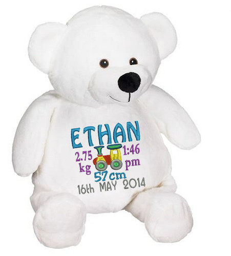 Personalised Embroider Buddy - Bear White (Birth Design)