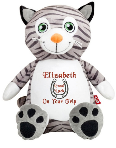 Personalised Message Bear - Cat Hug-Me Cubby