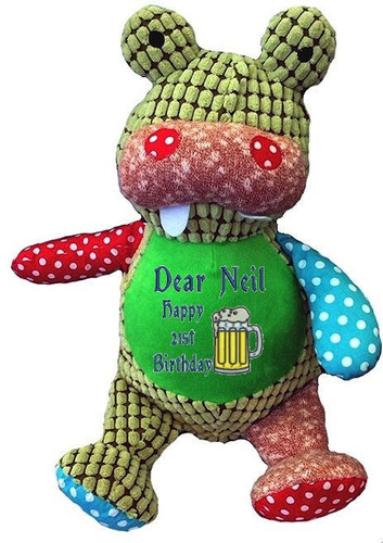 Personalised Message Bear - Harlequin Crocodile Hug-Me Cubby