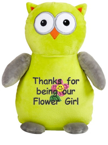 Say thank you with a personalised Apple/Grey Owl Cubby message bear