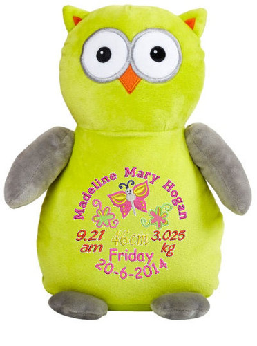 Personalised Hug-Me Cubby - Apple/Grey Owl (Birth Design)