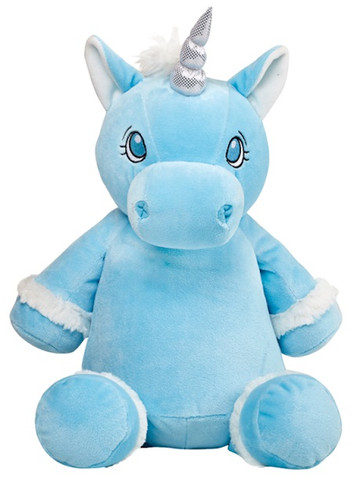 Personalised Hug-Me Cubby - Blue Unicorn (Birth Design)