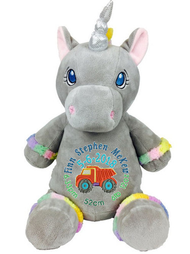Personalised Hug-Me Cubby - Grey Unicorn (Birth Design)