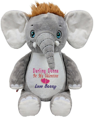Personalised Hug-Me Cubby - Signature Elephant with any message on it