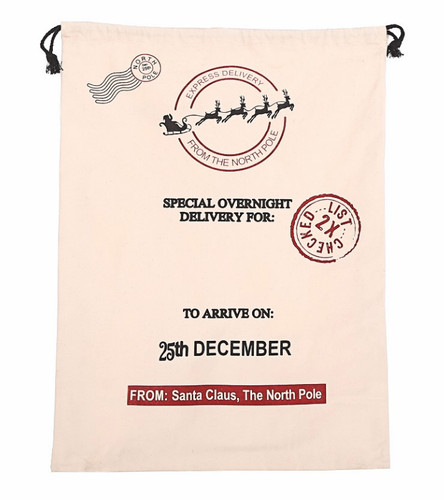 Personalised Santa Sack White with Special Delivery Motif