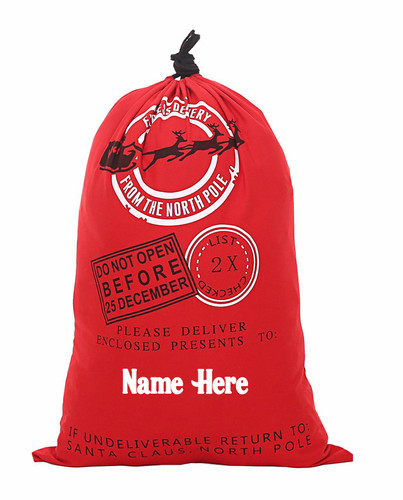 Personalised Santa Sack Red with Sleigh Motif