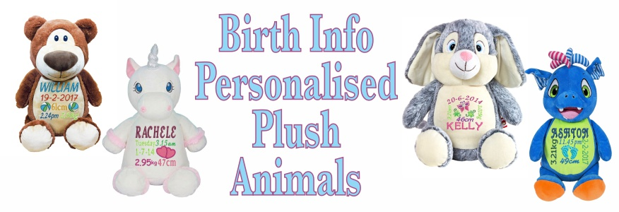 Teddy bears and plush animals embroidered with your babys birth details make a great remembrance and play toy