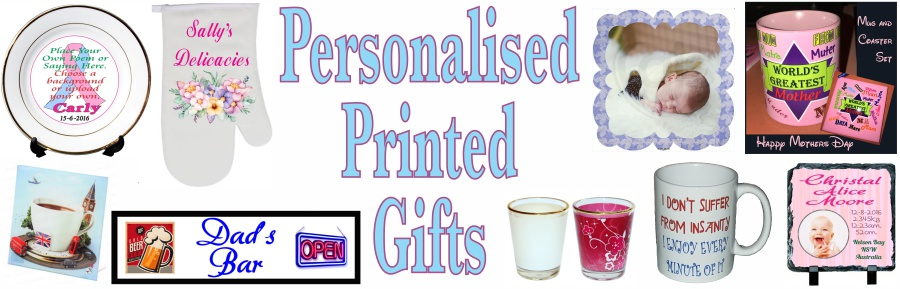 Personalised Heat transfers mugs, plates, photo frames, slates and fabrics