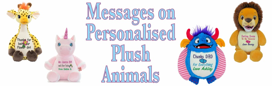Teddy Bears and plush animals embroidered with your own message for that someone special