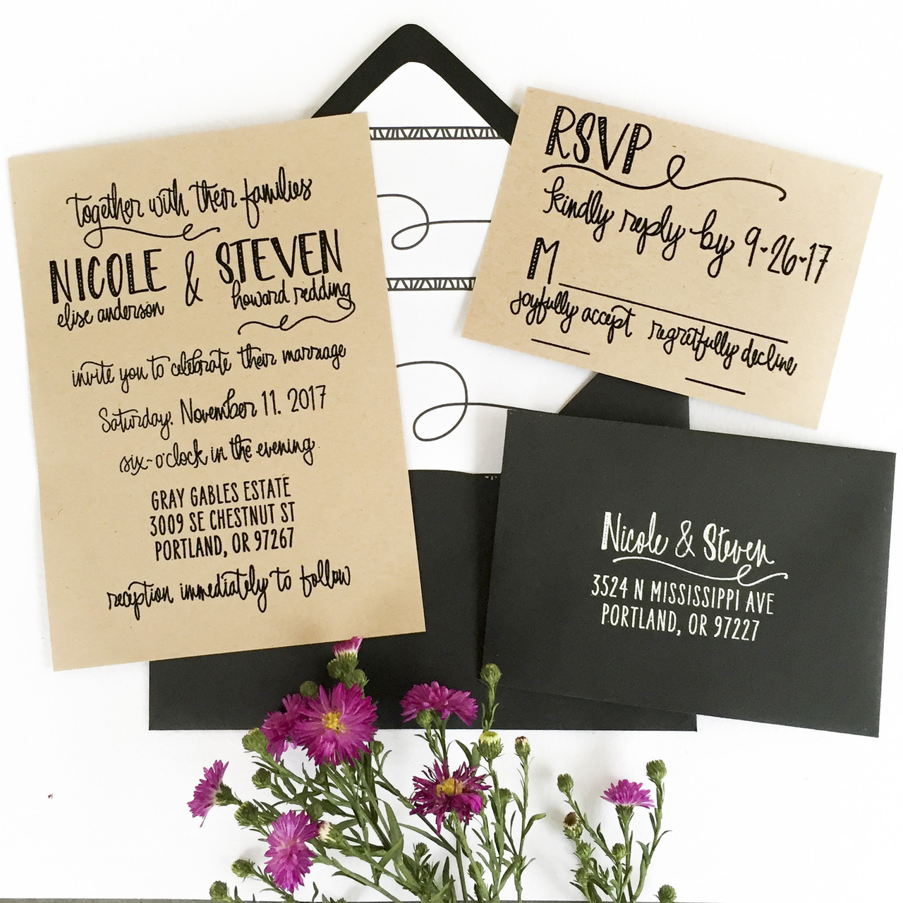 Wedding Invitation Stamp Suite Scribble By Paper Sushi