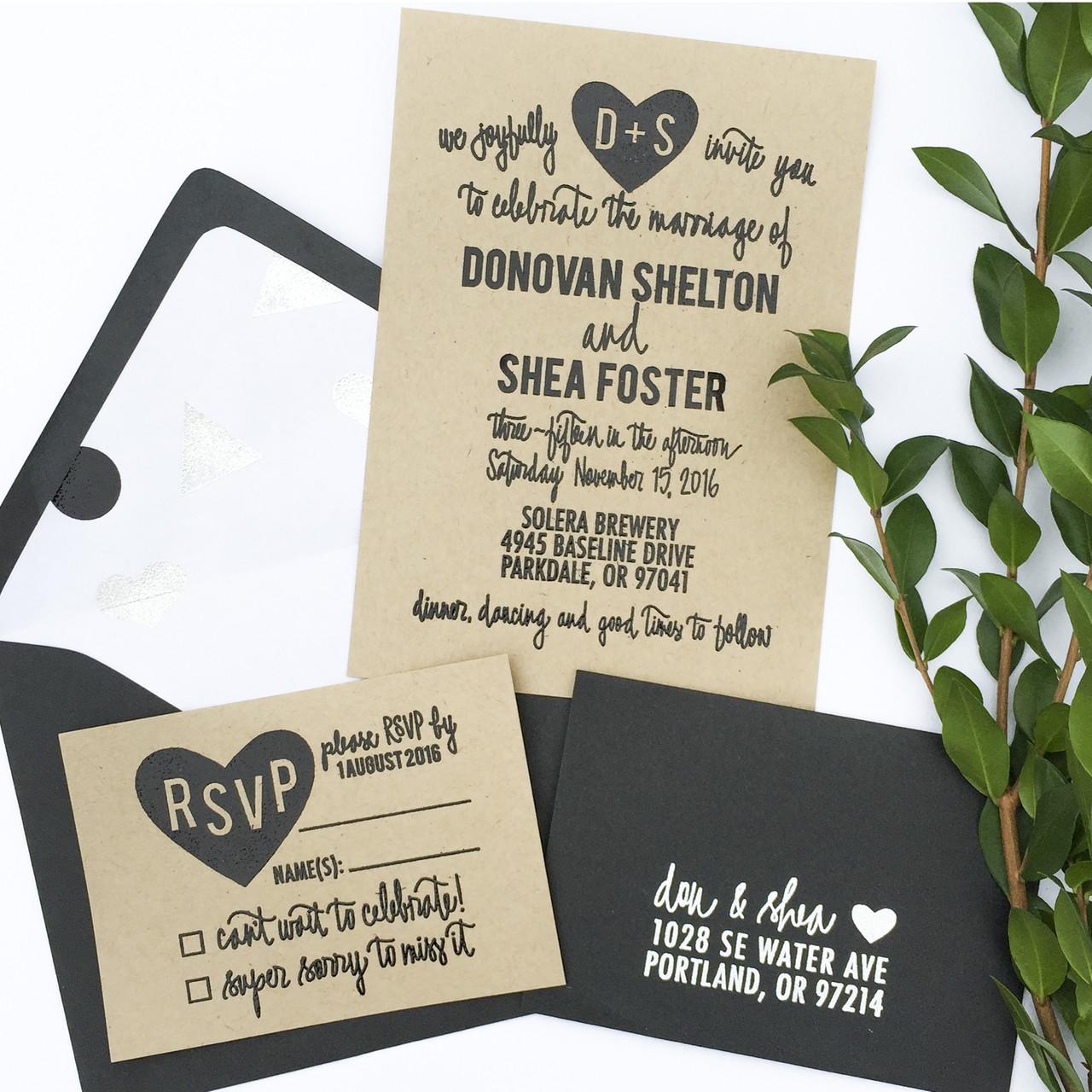 Wedding Invitation Stamp Suite Carved Heart