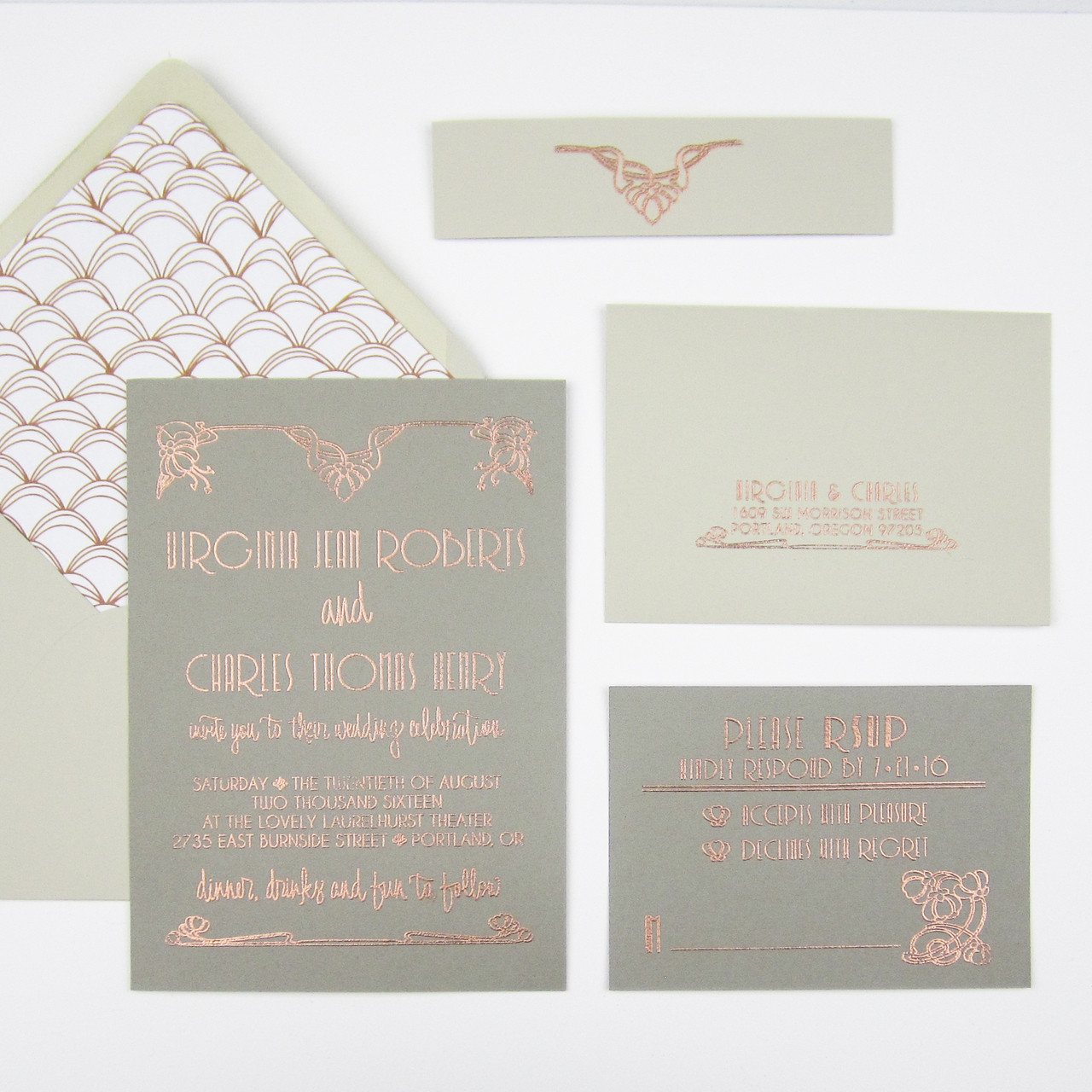 Art Deco Wedding Invitations.Wedding Invitation Stamp Suite Floral Art Deco