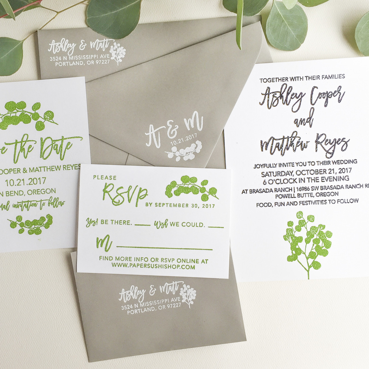 Wedding Invitation Stamp Suite Eucalyptus By Paper Sushi
