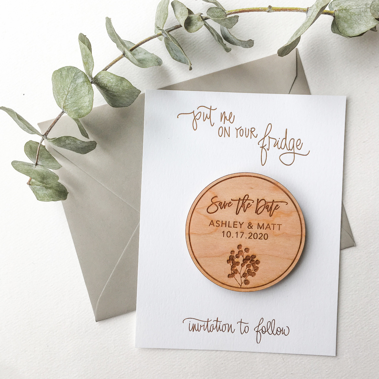 d3a0c43bb09e6 Wood Save the Date Magnets - Eucalyptus (Set of 10)