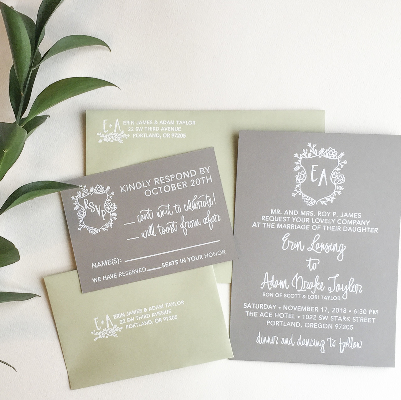 Succulent Wedding Invitation Stamp Suite By Paper Sushi