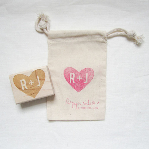 Monogram heart stamp by Paper Sushi
