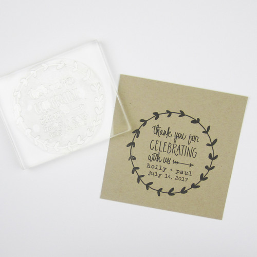 Thank You for Celebrating With Us Laurel Wreath Stamp by Paper Sushi