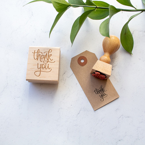 Calligraphy thank you stamp by Paper Sushi